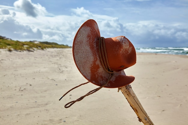 A sand-dusted orange cowboy hat hangs from a gnarled stick on a deserted beach. adventure concept