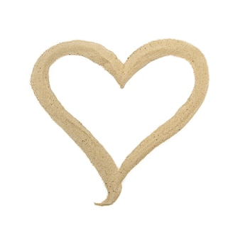 Sand heart on isolated background