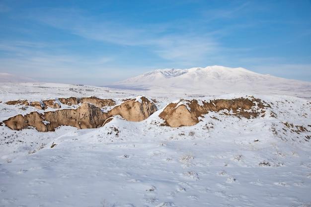 Песчаная гора с птичьими гнездами зимой