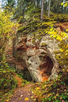 가을에 하이킹 코스가 있는 cesis 근처의 모래 돌 절벽. 붉은 절벽의 틈이 바위를 갈라 자연의 특이한 예술품을 만듭니다.