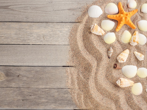 Sand on wooden boards with seashells summer vacation summer background