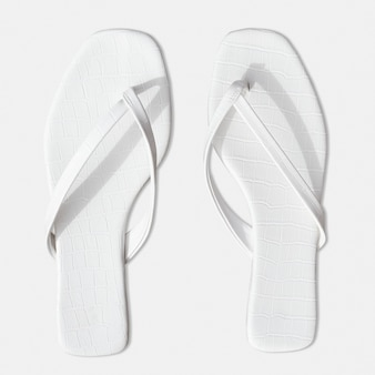 Sandals on the beach summer fashion aerial view