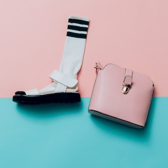 Sandals and socks. bag. summer minimal creative. hipster style top view