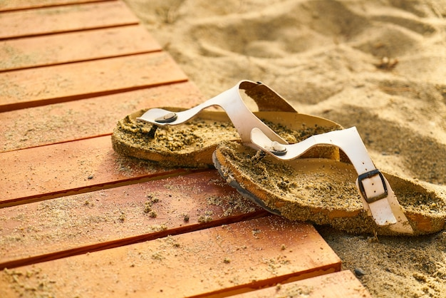 Sandals with sand