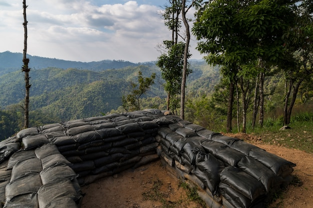 Sandbag and bunker of the old military bunker base on the mountain