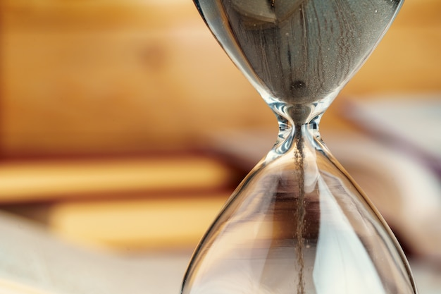 Sandglass clock close up on a table