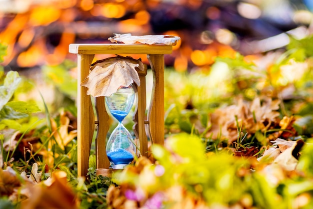 Sands clock in the autumn forest on the of the hearth in sunny weather. autumn time