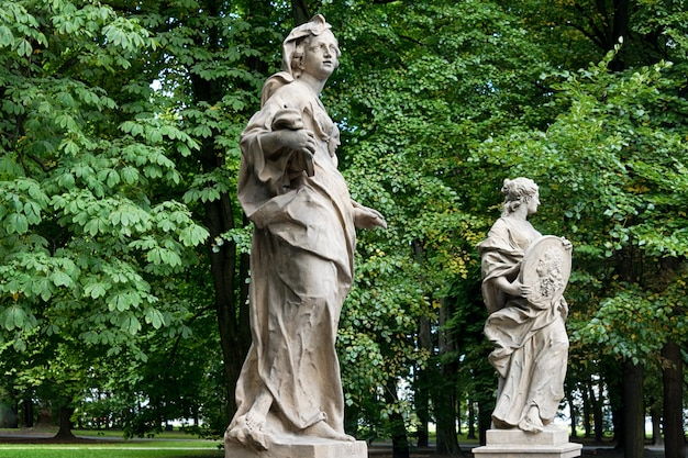 Sandstone statues in the saxon garden, warsaw, poland, made before 1745 by anonymous warsaw sculptor under the direction of johann georg plersch.