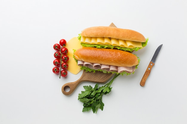 Sandwich appetizers and healthy ingredients