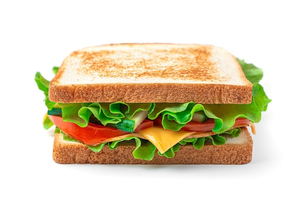 The sandwich club is isolated on a white background fast food