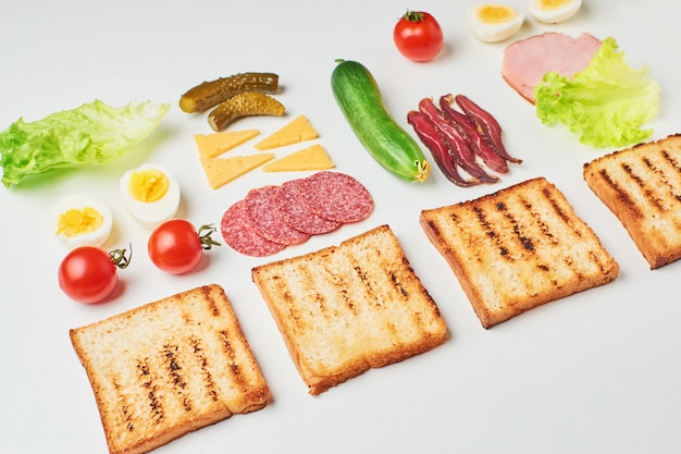 Sandwich ingredients on a white background, top view