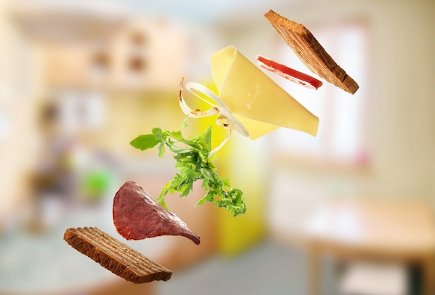 Sandwich in the kitchen. levitation.