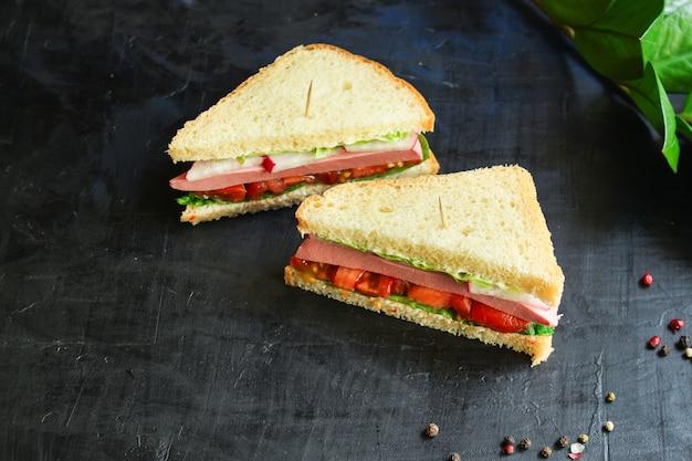 Sandwich sausage, vegetables, lettuce