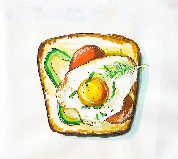 Иллюстрация вид сверху сэндвич