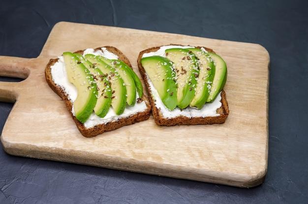 Сэндвич с авокадо и творогом нарезанный авокадо на гренках для здорового завтрака