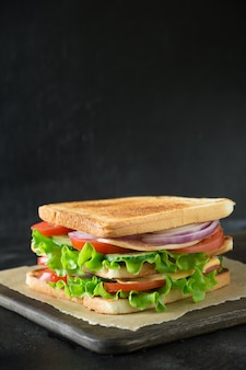 Sandwich with bacon, tomato, onion, salad on black background with copyspace. isolated.