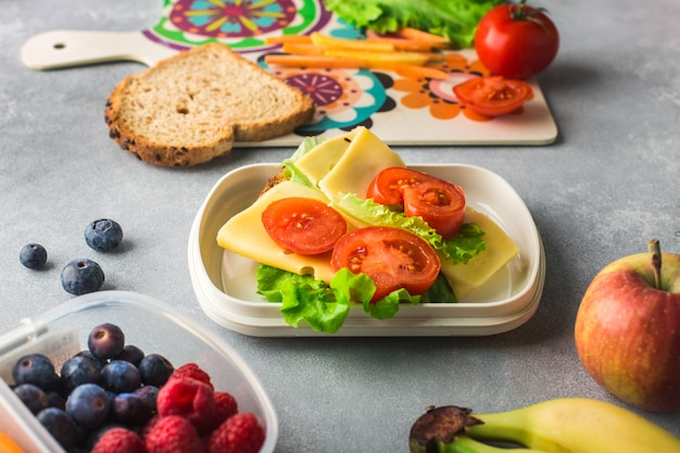 Sandwich with cheese salad and tomatoes in lunch box on grey