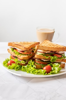 Sandwich with cheese, tomato, cucumber, sausage and salad on white