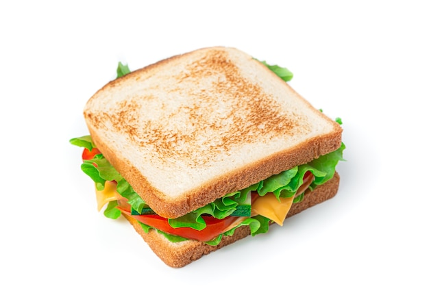 Sandwich with cheese, turkey and fresh vegetables on a white background. side view, close-up.