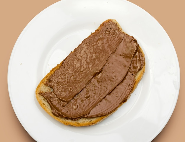 Sandwich with chocolate paste isolated