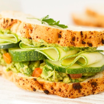 Sandwich with cucumber close-up
