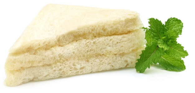 흰색 배경 위에 신선한 민트 샌드위치