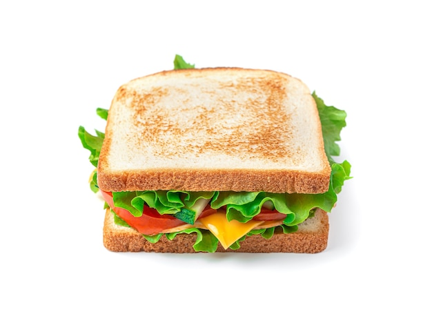 Sandwich with ham cheese and vegetables isolated on a white background