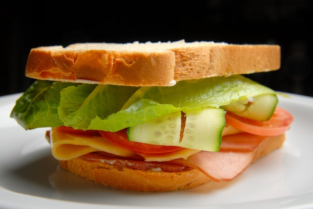 Sandwich with ham, cheese, vegetables and salad