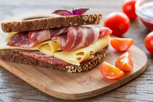 Sandwich with  ham and cheese