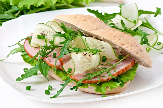Sandwich with ham and herbs