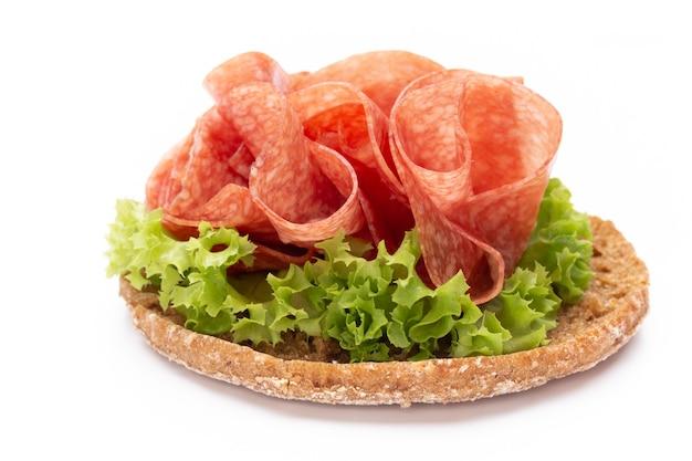 Sandwich with ham sausage.