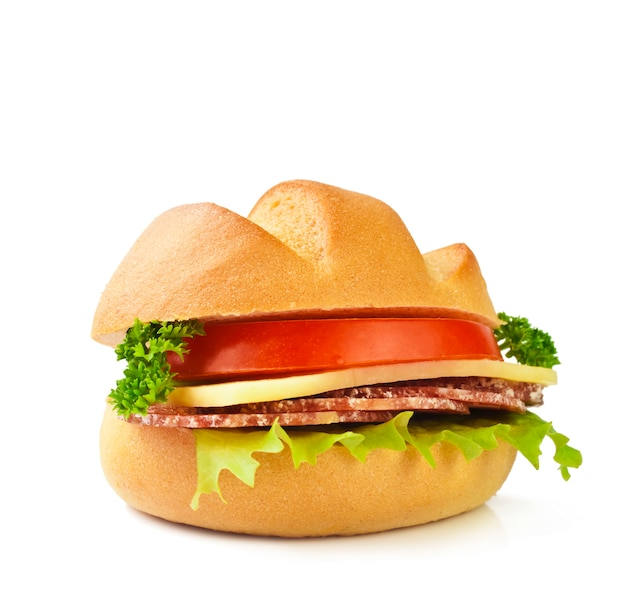 Sandwich with meat, tomato, cheese and lettuce
