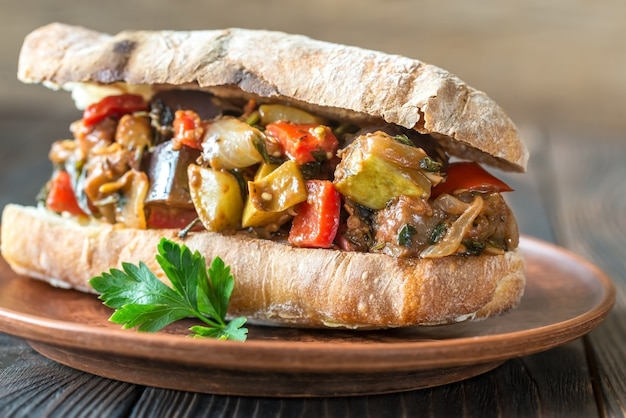 Sandwich with ratatouille on plate