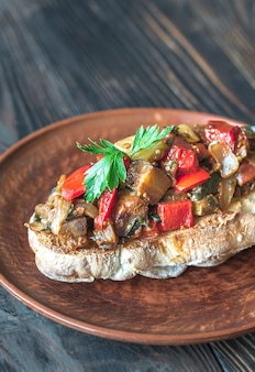 Sandwich with ratatouille on the plate