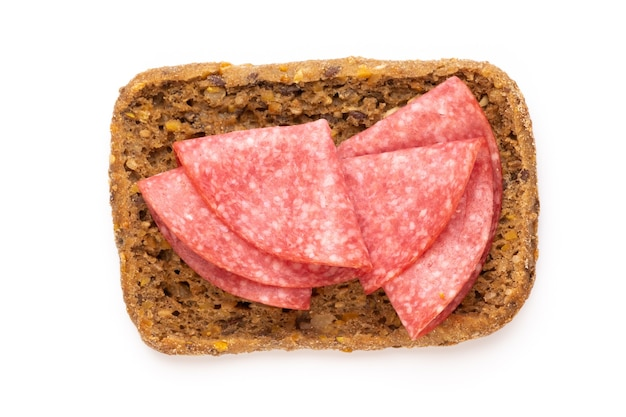Sandwich with salami sausage isolated