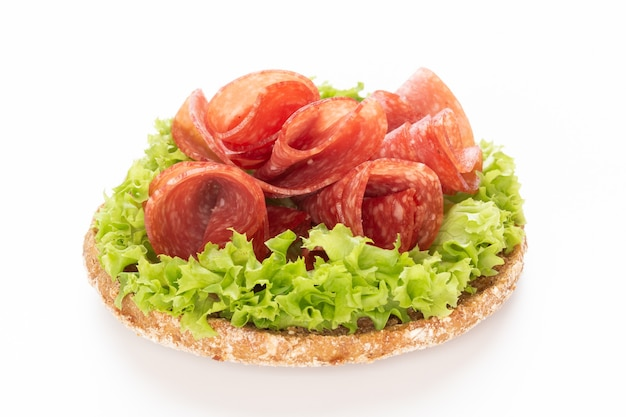 Sandwich with salami sausage