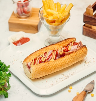 Sandwich with sausage with sauce and french fries