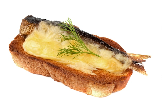 Sandwich with sprats and grilled cheese. on a white background