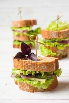 Sandwiches with cheese, cucumbers and onions with wheat bread.