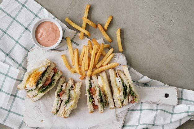 Sandwiches with french fries