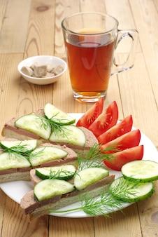 Бутерброды с печеночной колбасой, огурцом, помидором и чашкой чая