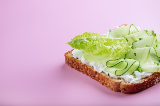 Sandwiches with mascarpone cheese, cucumber on a pink wall. copy space.