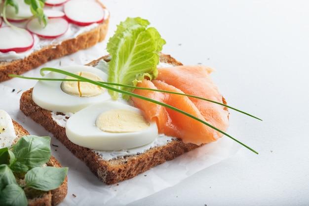 Sandwiches with mascarpone cheese, eggs, salmon, radish, caprese salad on a white wall. close up.