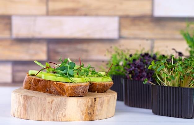 테이블에 마이크로그린과 아보카도가 있는 샌드위치. 깨끗한 음식의 건강한 식생활 개념