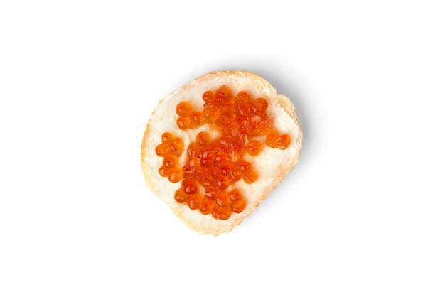 Sandwiches with red caviar isolated on white