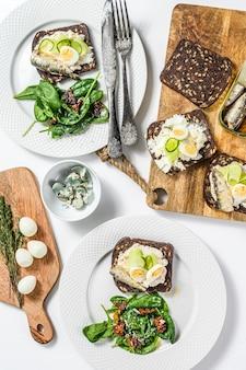 Бутерброды с сардинами, яйцом, огурцом и сливочным сыром, гарнир салата со шпинатом и вялеными помидорами. белый фон. вид сверху.