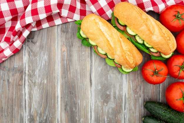 Sandwiches with tomatoes and cucumbers