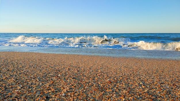 Sandy beach and azure sea