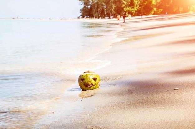 Песчаный пляж тропического острова вода лежит кокосовое лицо, вырезанное на нем, как на тыкве на хэллоуин