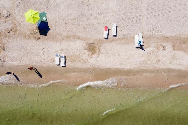 해변에 모래 해변, 위에서보기